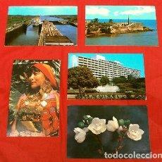Postales: PANAMA R.P. (AÑOS 70) (LOTE 5 POSTALES ESCRITAS, CON SELLOS) SAN BLAS, CANAL, CIUDAD DE PANAMA. Lote 217168722