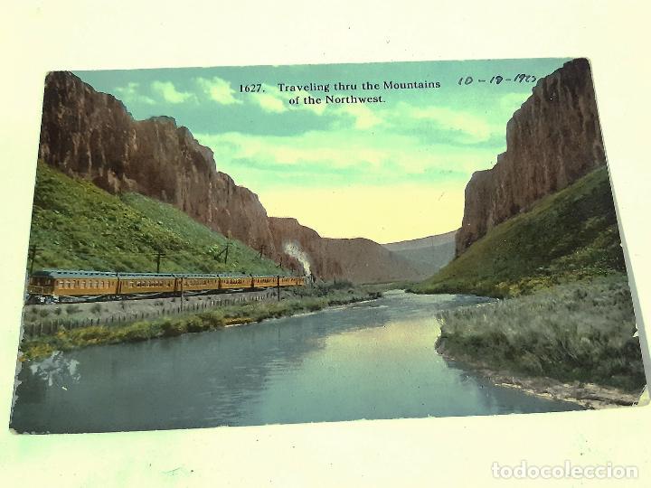 POSTAL TRAVELING THRU THE MOUNTAINS OF THE NORTH WEST. FERROCARRIL. ESTADOS UNIDOS EEUU (Postales - Postales Extranjero - América)