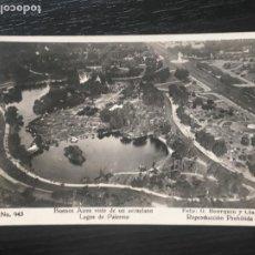 Postales: BUENOS AIRES - ARGENTINA POSTAL BUENOS AIRES VISTO DESDE UN AEROPLANO - LAGOS DE PALERMO. Lote 219025746
