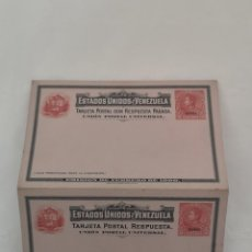 Postales: TARJETA POSTAL ESTADOS UNIDOS DE VENEZUELA CON RESPUESTA PAGADA, 10 CÉNTIMOS, EMISIÓN FEBRERO 1900.. Lote 220839960