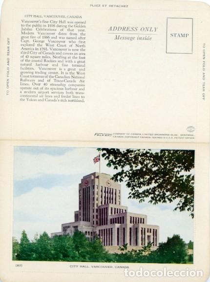 CANADA. VANCOUVER, CITY HALL. 357. POSTAL DOBLE NUEVA SIN USAR. (Postales - Postales Extranjero - América)