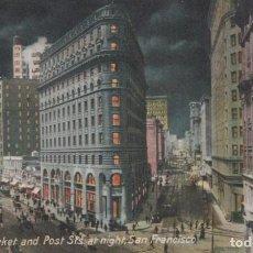 Postales: POSTAL CALIFORNIA - CORNER MARKET AND POST STS AT NIGHT - SAN FRANCISCO - CA. Lote 240387340