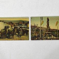 Cartoline: POSTALES BOLIVIA - DESCUBRIMIENTO ESTATUA DE MURILLO, GRUPO DE LLAMAS, SUBURBIOS DE LA PAZ - 1913. Lote 245616500