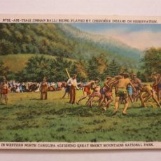 Postales: ESTADOS UNIDOS - NATIVOS AMERICANOS CHEROKEE JUGANDO AL ANI-TSAGI - P47561. Lote 246020935