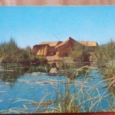 Postales: PERU-V54-VIVIENDA DE TOTORA EN LA ISLAS FLOTANTES DE LOS UROS-PUNO-PERU. Lote 262820985