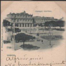 Postales: CUBA 1900 HABANA..PARQUE CENTRAL. CIRCULADA EN 1900 SIGLO XIX !!! RARA. Lote 272126778