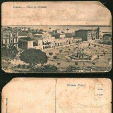 Postales: 1132 - BRASIL - MANAOS ANTIGUA MANAUS PLAZA DO COMERCIO VISTA PANORAMICA - POSTAL 1910' DAÑADA. Lote 277154443