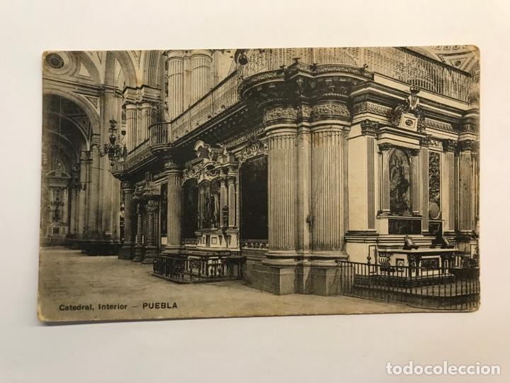 PUEBLA, MEXICO.., POSTAL ANTIGUA. CÁTEDRAL INTERIOR. EDIC., EL ESCRITORIO.. (H.1910?) CIRCULADA.. (Postales - Postales Extranjero - América)