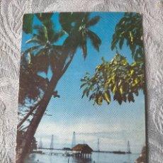 Postales: TALADROS DE PETROLEO EN PRODUCCION SOBRE EL LAGO MARACAIBO HERBERT LANKS VENEZUELA CARACAS POST CARD. Lote 286166383