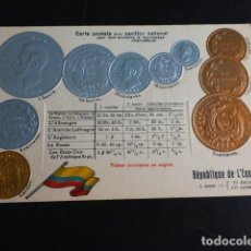 Postales: ECUADOR BANDERA Y MONEDAS POSTAL 1907. Lote 286491163