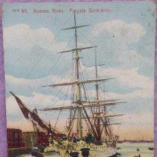 Postales: POSTAL BUENOS AIRES, FRAGATA SARMIENTO, AÑO 1908 /// BUQUE ARGENTINA EMIGRACIÓN AMÉRICA CAPITÁN ASIA. Lote 286881358