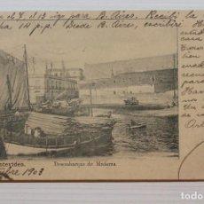Cartes Postales: POSTAL URUGUAY, MONTEVIDEO, DESEMBARCO DE MADERAS, C.GALLI. Lote 288073568