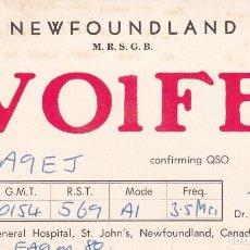 Postales: POSTAL RADIO AFICIONADO NEWFOUNLAND VO1FB CANADA. Lote 288529333