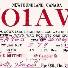 Postales: POSTAL RADIO AFICIONADO NEWFOUNLAND VO1AW CANADA. Lote 288529688