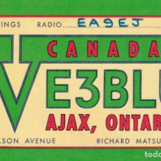 Postales: POSTAL RADIO AFICIONADO CANADA. VE3BLU AJAX, ONTARIO. Lote 288530028