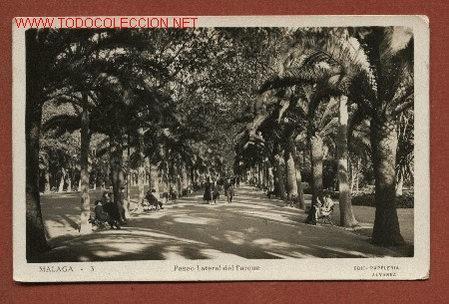 MÁLAGA. PASEO LATERAL DEL PARQUE. EDIC. PAPELERÍA ALVAREZ Nº 3, CIRCULADA A INGLATERRA EN 1935 (Postales - España - Andalucía Antigua (hasta 1939))