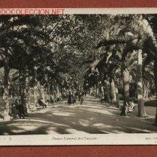 Postales: MÁLAGA. PASEO LATERAL DEL PARQUE. EDIC. PAPELERÍA ALVAREZ Nº 3, CIRCULADA A INGLATERRA EN 1935. Lote 23918341