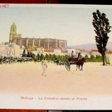 Postales: ANTIGUA POSTAL COLOREADA DE MALAGA - LA CATEDRAL DESDE EL PUERTO - 1915 - SIN DIVIDIR - UNION POSTA. Lote 19255385