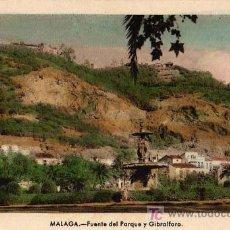 Postales: TARJETA POSTAL. MÁLAGA: FUENTE DEL PARQUE Y GIBRALFARO . Lote 5951839