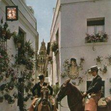 Postales: CORDOBA - CABALLISTAS VISITANDO LA CALLEJA DE LAS FLORES.. Lote 14870073