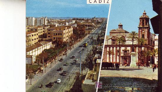 CADIZ. AVDA. LOPEZ PINTO E IGLESIA DE SANTIAGO. (Postales - España - Andalucia Moderna (desde 1.940))