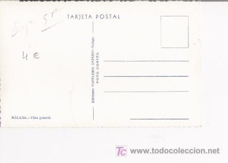 Postales: MALAGA-TARJETA POSTAL DE MALAGA, VISTA GENERAL. EDIC. PAPELERIA IMPERIO, MALAGA. FOTO CORTES. - Foto 2 - 4823906