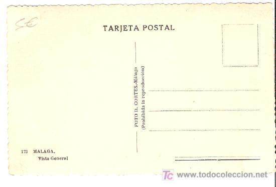 Postales: TARJETA POSTAL DE MALAGA. Nº 173. VISTA GENERAL. FOTO D. CORTES. - MALAGA. - Foto 2 - 13525872