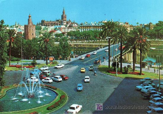 SEVILLA. PLAZA DE CUBA .POSTAL CIRCULADA EN 1974-VER FOTO ADICIONAL. (Postales - España - Andalucia Moderna (desde 1.940))