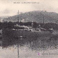 Postales: MALAGA. EL PUERTO Y CASTILLO -NO CIRCULADA.. Lote 19513825