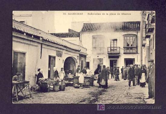 POSTAL DE ALGECIRAS (CADIZ): BUÑOLERIAS DE LA PLAZA DE ABASTOS (ED.MANUEL BARREIRO NUM.32) (ANIMADA) (Postales - España - Andalucía Antigua (hasta 1939))