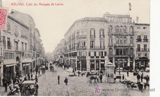MALAGA. CALLE DEL MARQUES DE LARIOS.INTERESANTE POSTAL CON GANADO EN LA CALLE (Postales - España - Andalucía Antigua (hasta 1939))