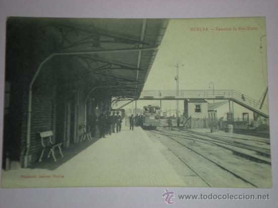 TARJETA POSTAL HUELVA - ESTACION DE RIO TINTO - PAPELERIA INGLESA TRENES (Postales - España - Andalucía Antigua (hasta 1939))