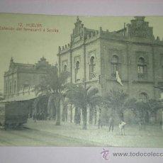 Postales: TARJETA POSTAL HUELVA - ESTACION DE FERROCARRIL A SEVILLA - PAPELERIA MORA TRENES. Lote 9348664