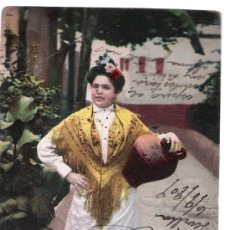 Postales: SEVILLA. TIPOS SEVILLANOS. VUELTA DE LA FUENTE. FECHADA EN 1909. Lote 14810112