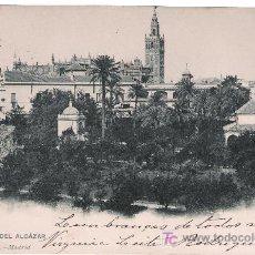 Postales: SEVILLA. JARDINES DEL ALCÁZAR. HAUSER Y MENET. FRANQUEADA Y FECHADA EN 1904. Lote 14827450