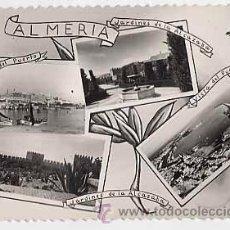 Postales: ALMERIA. MOSAICO. VISTAS: JARDINES ALCAZABA. VISTA PUERTO. ED. AISA. ESCRITA. Lote 18177504
