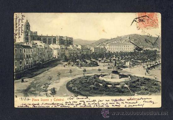 POSTAL DE MALAGA: PLAZA SUAREZ Y CATEDRAL (STENGEL NUM.7905 O 1905?) (Postales - España - Andalucía Antigua (hasta 1939))