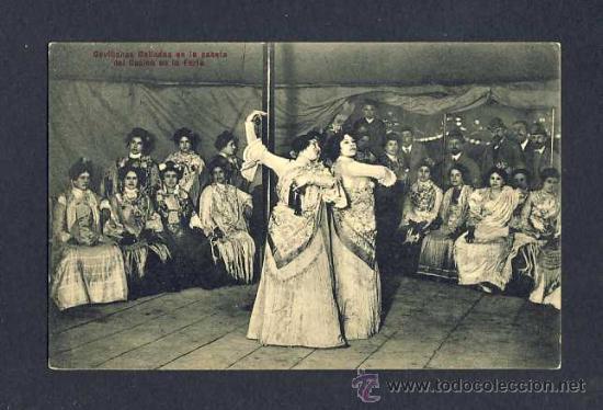 POSTAL DE SEVILLA: SEVILLANAS BAILADAS EN LA CASETA DEL CASINO DE LA FERIA (ED.CHAPARTEGUY N.22320) (Postales - España - Andalucía Antigua (hasta 1939))