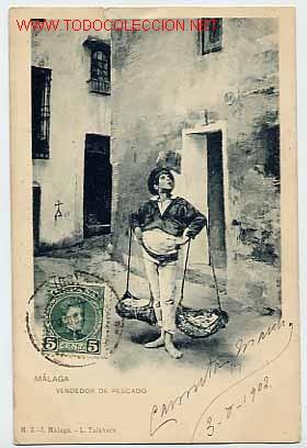 MÁLAGA, VENDEDOR DE PESCADO. M.Z. L. TALAVERA. IMPR. HAUSER Y MENET. CIRCULADA EN 1902 (Postales - España - Andalucía Antigua (hasta 1939))