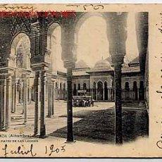 Postales: POSTAL: GRANADA. ALHAMBRA. PATIO DE LOS LEONES. Nº 1. FOTOTIPIA LAURENT, CIRCULADA EN 1905. Lote 9845665