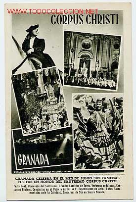 GRANADA. FIESTAS DEL CORPUS CHRISTI. HUECOGRABADO FOURNIER, VITORIA. ESCRITA EN EL 53 (Postales - España - Andalucia Moderna (desde 1.940))
