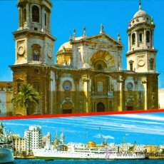 Postales: CADIZ - CATEDRAL / VISTA PARCIAL DEL PUERTO. Lote 15947357