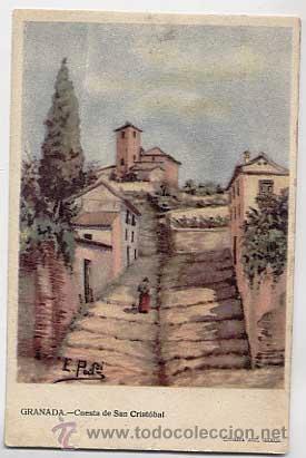 GRANADA. CUESTA DE SAN CRISTOBAL. ED. LITOGRAFIA ANEL. SIN CIRCULAR (Postales - España - Andalucía Antigua (hasta 1939))