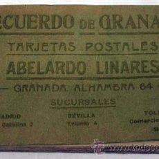 Postales: CUADERNO 25 POSTALES LA ALHAMBRA RECUERDO GRANADA ABELARDO LINARES SERIE I AÑOS 20 - 30. Lote 12777265