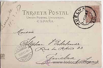 Postales: HUELVA. MUELLE DE RIOTINTO. HAUSER Y MENET 446. REVERSO SIN DIVIDIR CIRCULADA - Foto 2 - 13702618