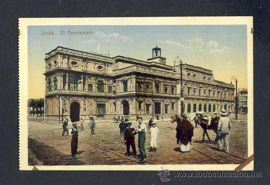 POSTAL DE SEVILLA: EL AYUNTAMIENTO (COL.CHAPARTEGUY NUM.28382) (ANIMADA) (Postales - España - Andalucía Antigua (hasta 1939))
