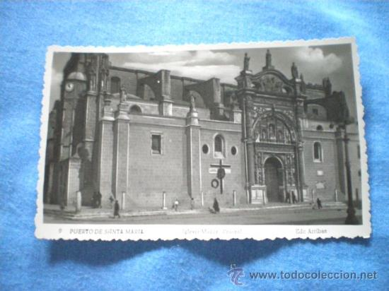 POSTAL PUERTO DE SANTA MARIA IGLESIA MAYOR PRIORAL 1954 ESCRITA (Postales - España - Andalucia Moderna (desde 1.940))