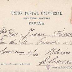 Postales: ALFONSO XIII PELON: TARJETA POSTAL CIRCULADA DE GRANADA (AMBULANTE) A ALEMANIA: CORRIDA DE TOROS. SU. Lote 23741721
