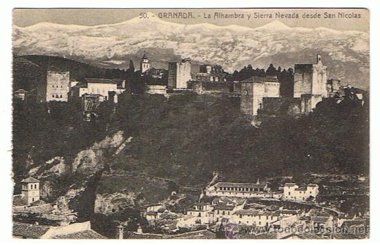 GRANADA - LA ALHAMBRA Y SIERRA NEVADA DESDE SAN NICOLÁS, EDIT. ABELARDO LINARES, SIN CIRCULAR (Postales - España - Andalucía Antigua (hasta 1939))