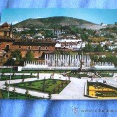 Postales: POSTAL GRANADA JARDINES Y FUENTE MONUMENTAL DEL TRIUNFO ESCRITA. Lote 16195441